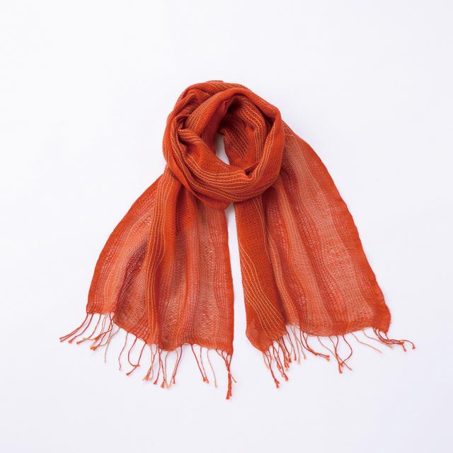 工房織座  綿のゆらぎ ゆらぎ織りマフラー