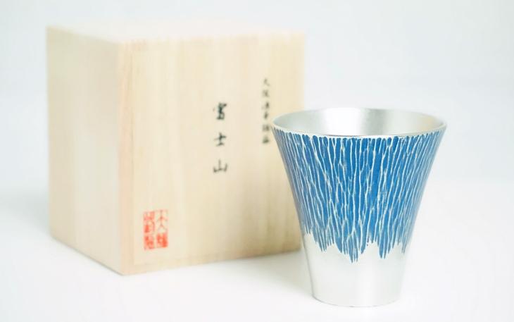大阪錫器 錫製 タンブラー 富士山 ぐい呑