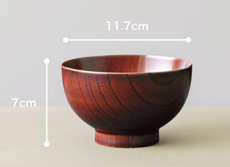 木地呂椀と色拭き漆椀と内塗り椀のサイズ