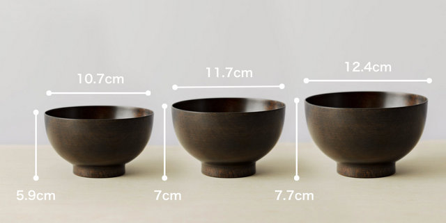 拭き漆塗り椀のサイズ